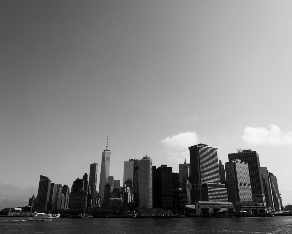 New York city seen from the Hudson river