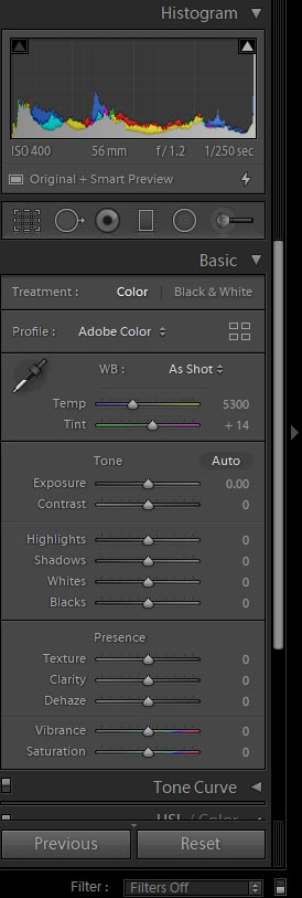 Lightroom tools for editing photos