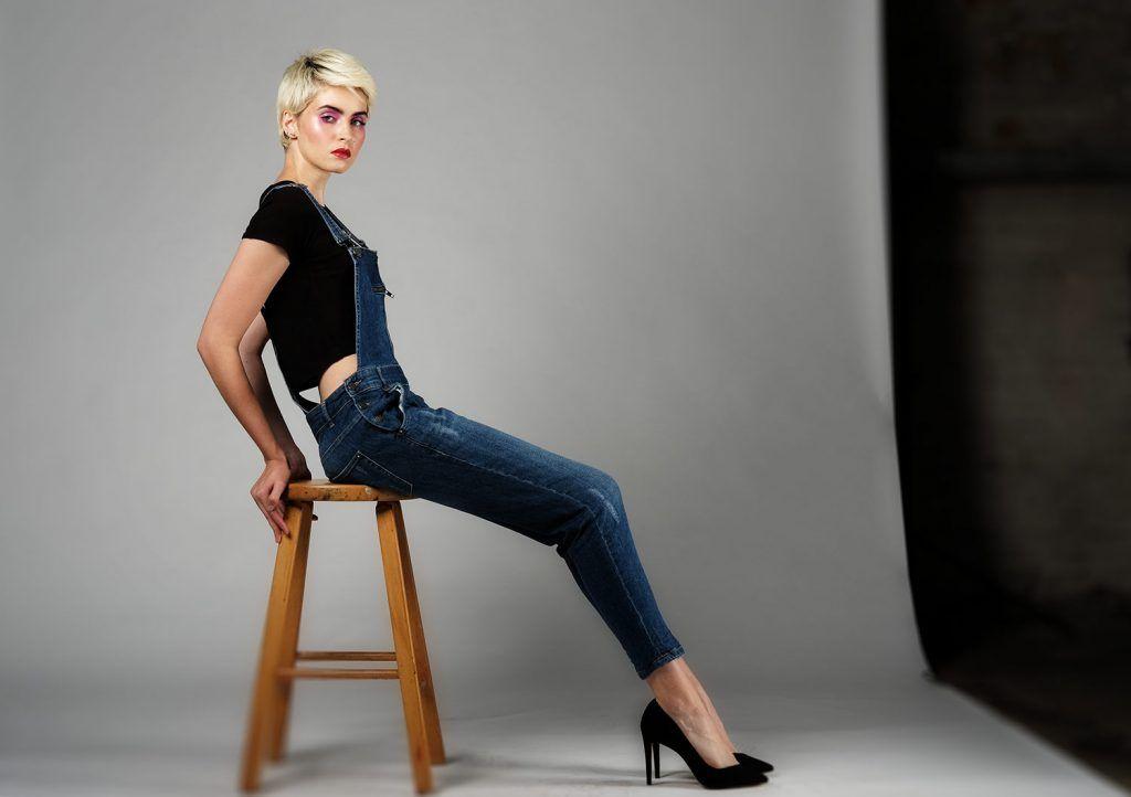 Woman posing in a studio environment