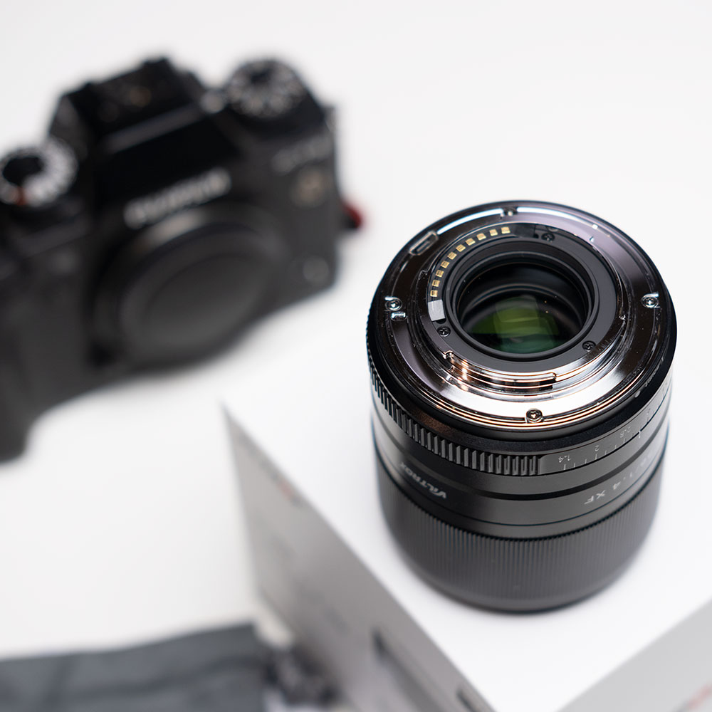 Viltrox 56mm back element view with Fujfilm XT3 in the background
