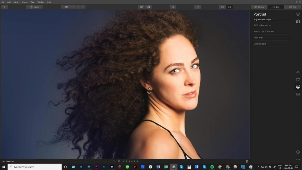 Portrait of a woman being edited by Luminar 4 software
