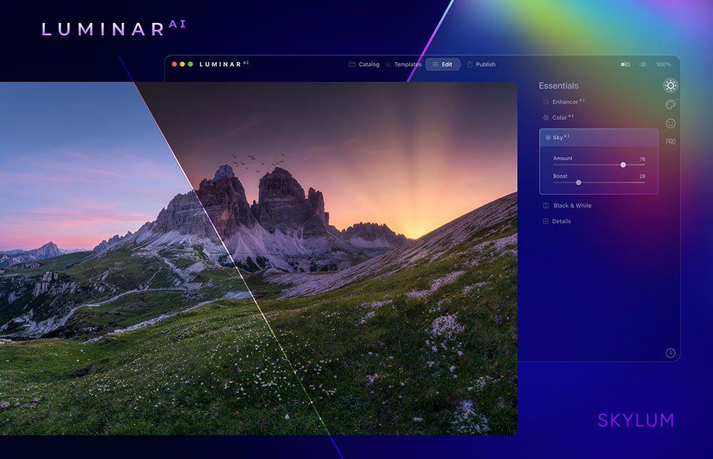 The new Luminar AI software interface