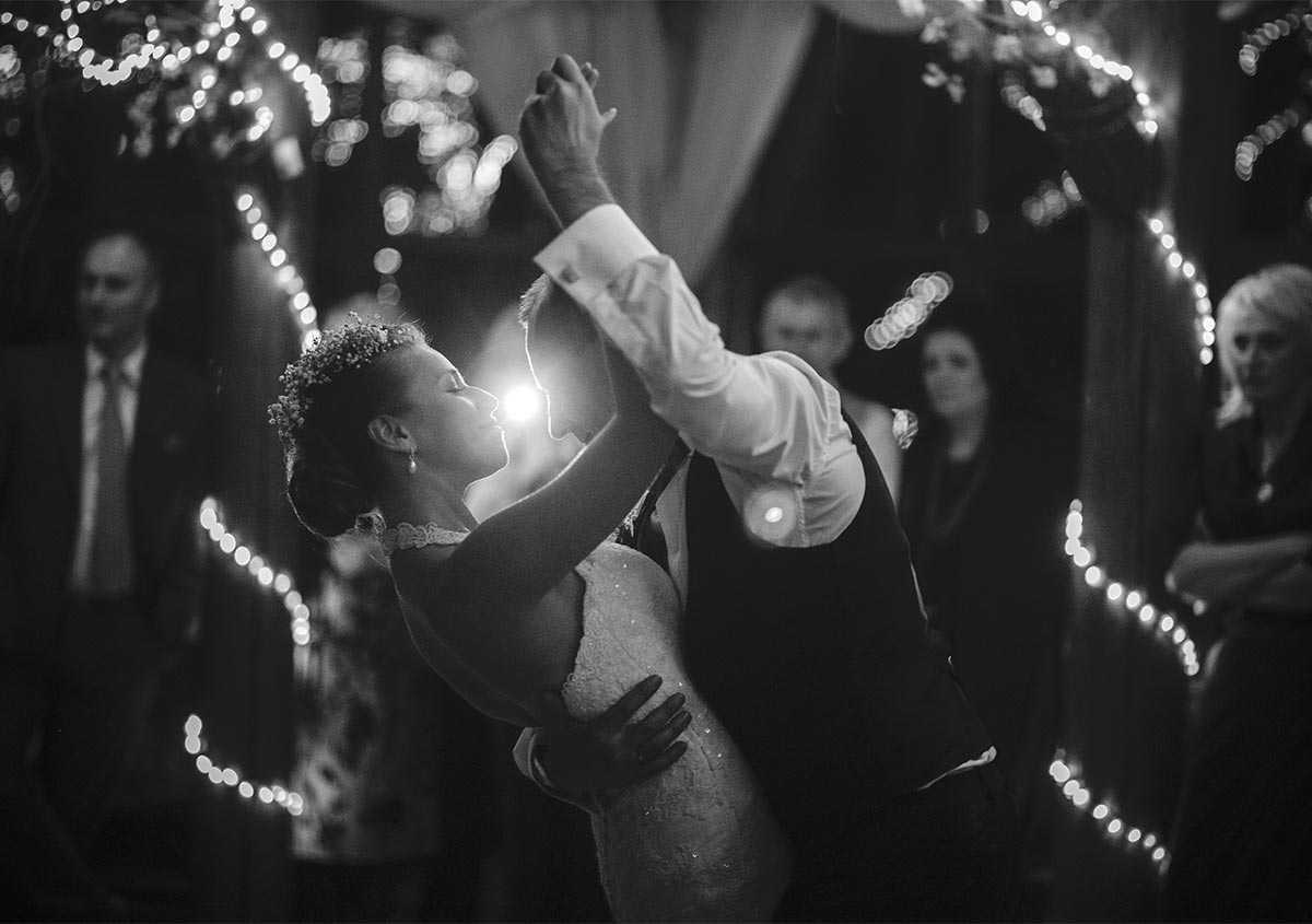 A couple dancing at a wedding reception