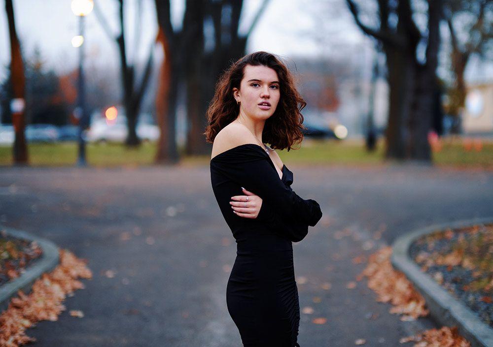 Woman in an autumn park