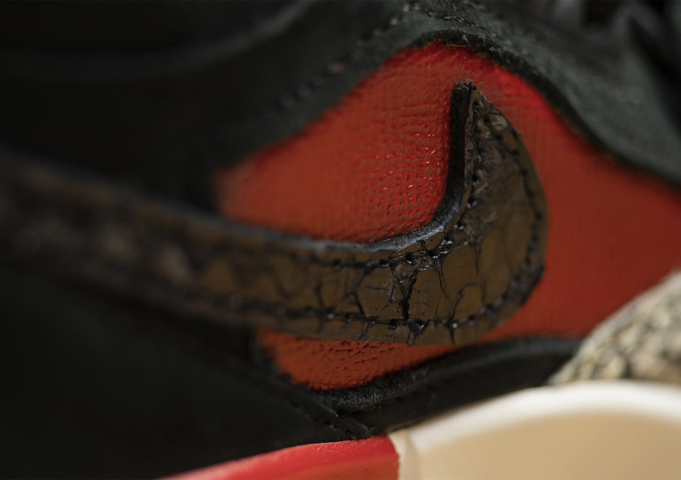 Extreme closeup of a side view of a Nike sneeker