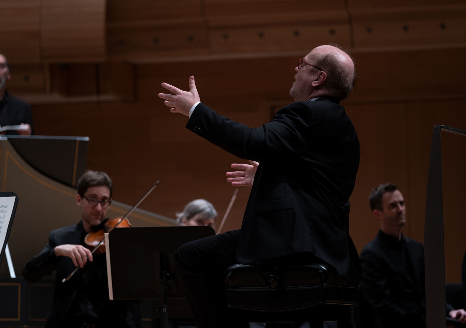 Symhony conductor directing symphony orchestra