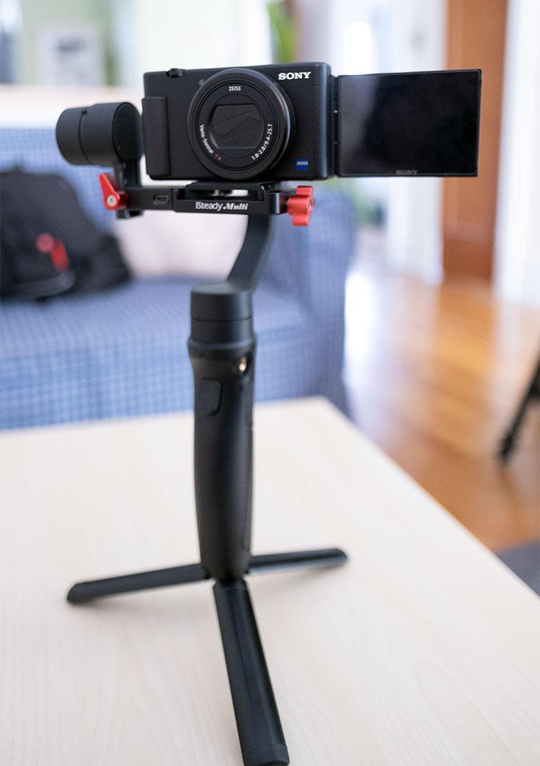 iSteady Multi gimbal holding the Sony ZV-1 camera