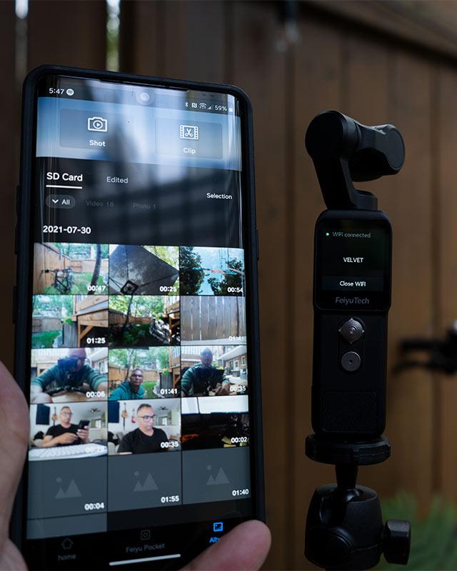 Feiyucam phone app interface beside the Feiyutech Pocket 2